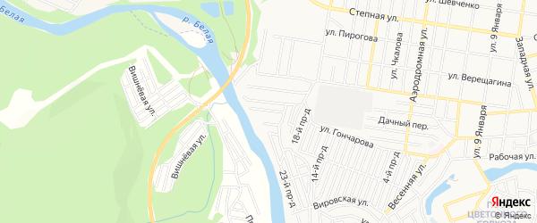 Карта садового некоммерческого товарищества Садовода-3 города Майкопа в Адыгее с улицами и номерами домов