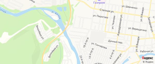 Карта садового некоммерческого товарищества Мичуринца города Майкопа в Адыгее с улицами и номерами домов