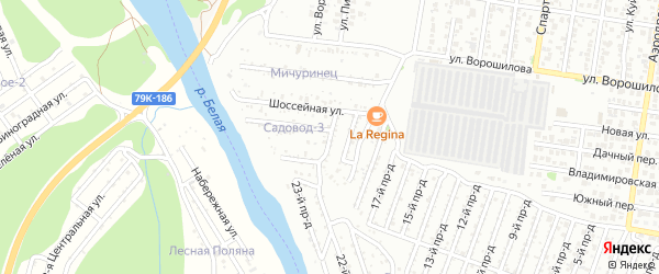 Улица Строителей на карте садового некоммерческого товарищества Садовода-3 с номерами домов