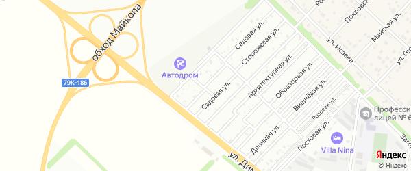 Малиновая улица на карте садового некоммерческого товарищества Звезды с номерами домов