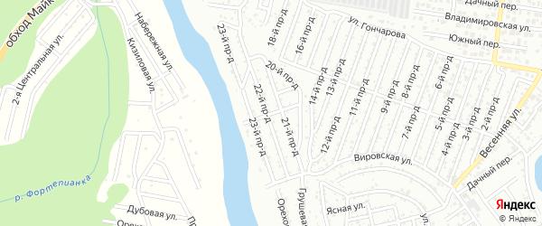 25-й проезд на карте садового некоммерческого товарищества Весны с номерами домов