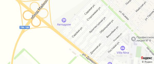 Садовая улица на карте садового некоммерческого товарищества Звезды с номерами домов