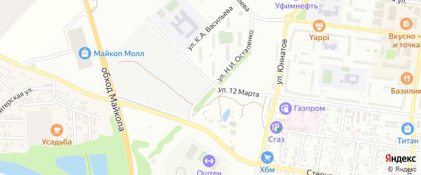 Улица Н.И.Остапенко на карте Майкопа с номерами домов