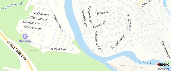 Шапсугская улица на карте садового некоммерческого товарищества Дружбы с номерами домов