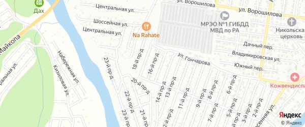 16-й проезд на карте садового некоммерческого товарищества Проектировщика с номерами домов