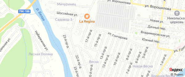 16-й проезд на карте садового некоммерческого товарищества Весны с номерами домов