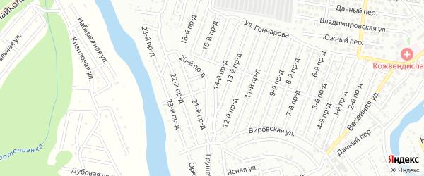 Южная улица на карте садового некоммерческого товарищества Весны с номерами домов