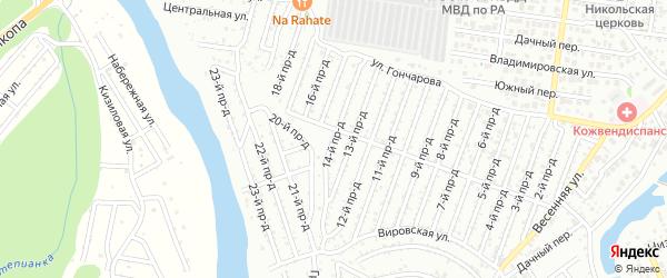 14-й проезд на карте садового некоммерческого товарищества Весны с номерами домов