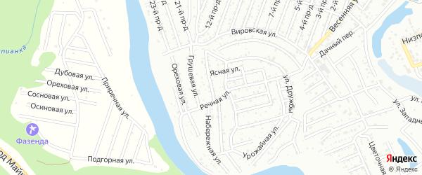 Клеверная улица на карте Озерного садового некоммерческого товарищества с номерами домов
