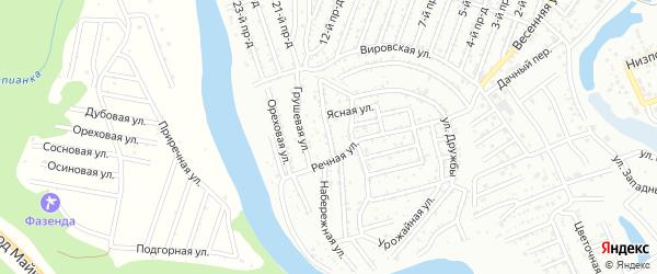 Клеверная улица на карте садового некоммерческого товарищества Дружбы с номерами домов