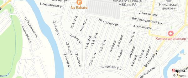 13-й проезд на карте садового некоммерческого товарищества Весны с номерами домов