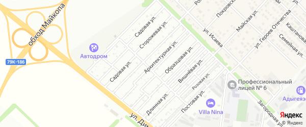 Архитектурная улица на карте садового некоммерческого товарищества Звезды с номерами домов