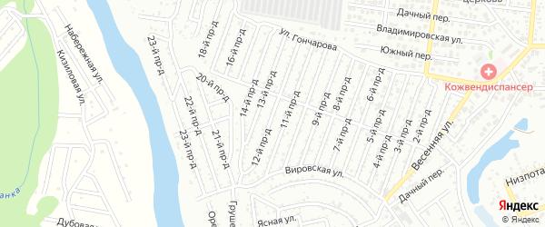 12-й проезд на карте садового некоммерческого товарищества Проектировщика с номерами домов