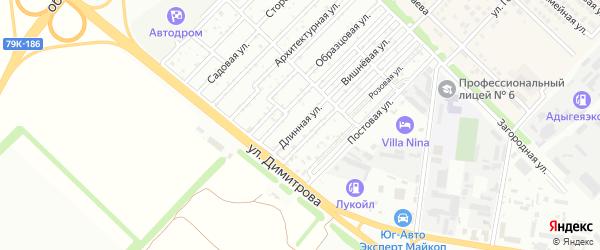 Длинная улица на карте садового некоммерческого товарищества Звезды с номерами домов
