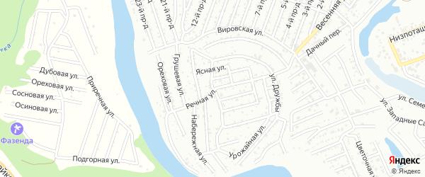 Цветочная улица на карте садового некоммерческого товарищества Дружбы с номерами домов