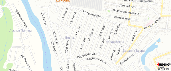 11-й проезд на карте садового некоммерческого товарищества Виктории с номерами домов