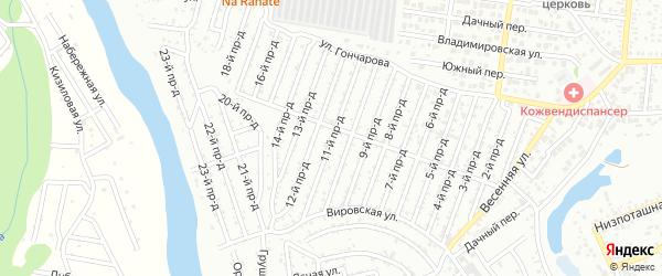 11-й проезд на карте садового некоммерческого товарищества Восхода с номерами домов
