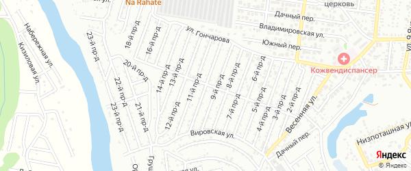 10-й проезд на карте садового некоммерческого товарищества Проектировщика с номерами домов