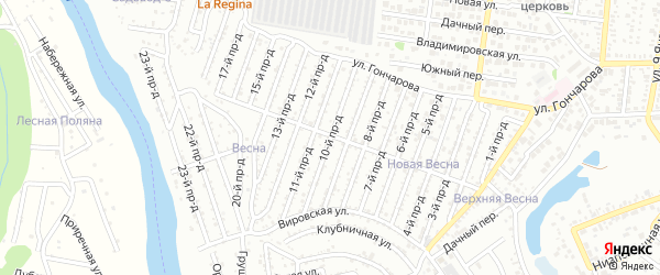10-й проезд на карте садового некоммерческого товарищества Весны с номерами домов
