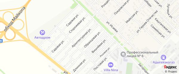 Архитектурная улица на карте садового некоммерческого товарищества Космоса с номерами домов