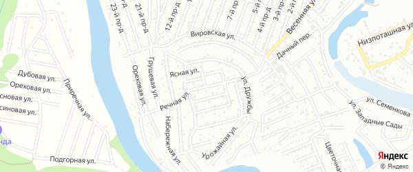 Речная улица на карте садового некоммерческого товарищества Дружбы с номерами домов