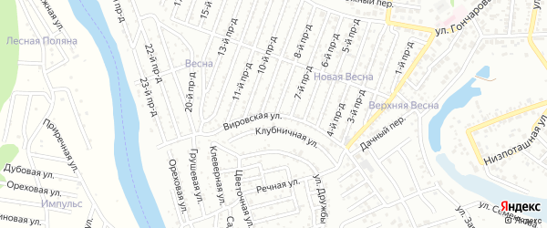 Вировская улица на карте садового некоммерческого товарищества Дружбы с номерами домов