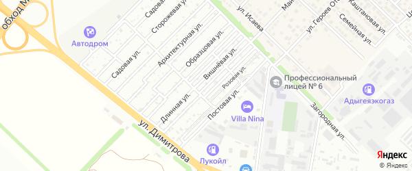 Цветочная улица на карте садового некоммерческого товарищества Звезды с номерами домов