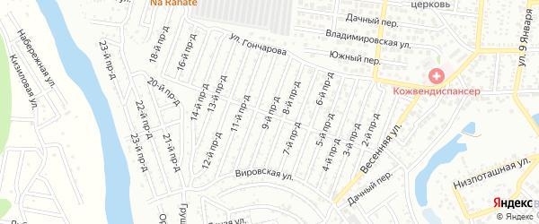 9-й проезд на карте садового некоммерческого товарищества Весны с номерами домов