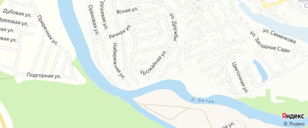 Урожайная улица на карте садового некоммерческого товарищества Росинки с номерами домов