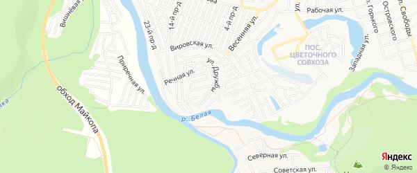 Карта садового некоммерческого товарищества Дружбы города Майкопа в Адыгее с улицами и номерами домов