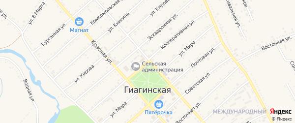 Кооперативная улица на карте Гиагинской станицы с номерами домов