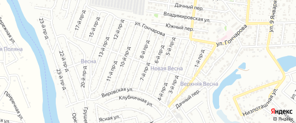 7-й проезд на карте садового некоммерческого товарищества Весны с номерами домов
