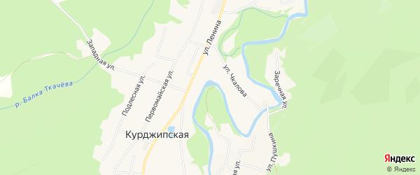 Карта Курджипской станицы в Адыгее с улицами и номерами домов