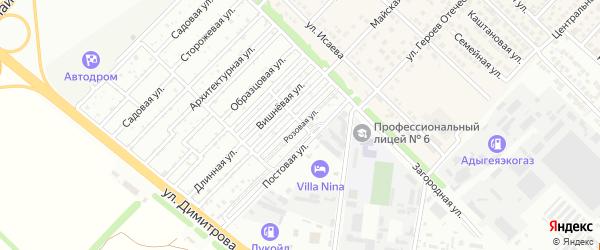 Розовая улица на карте садового некоммерческого товарищества Птицевода с номерами домов
