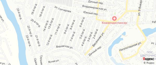 6-й проезд на карте садового некоммерческого товарищества Проектировщика с номерами домов