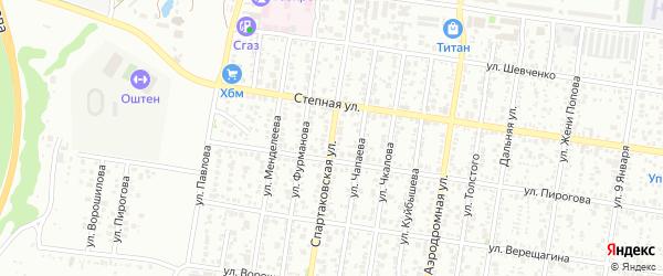 Спартаковская улица на карте Майкопа с номерами домов