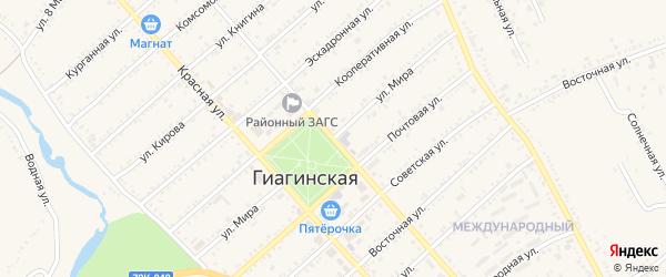 Улица Мира на карте Гиагинской станицы с номерами домов