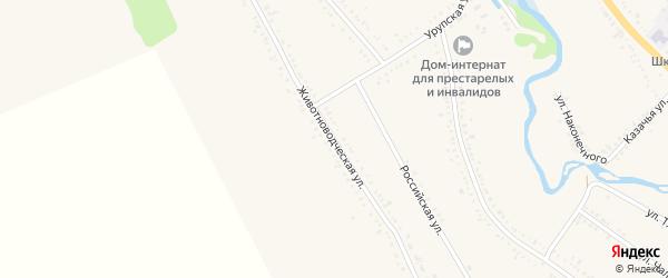 Животноводческая улица на карте Гиагинской станицы с номерами домов