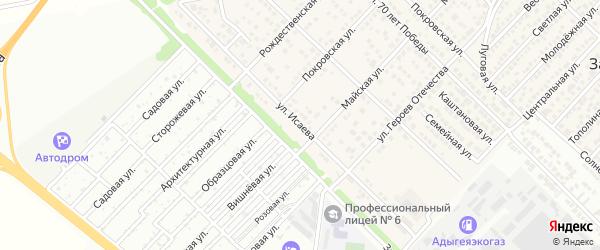 Улица Исаева на карте Западного поселка с номерами домов
