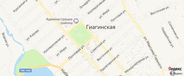 Почтовая улица на карте Гиагинской станицы с номерами домов