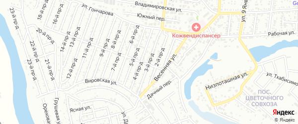 3-й проезд на карте садового некоммерческого товарищества Весны с номерами домов