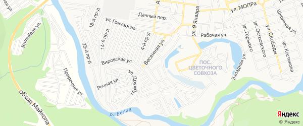 Карта поселка ДНТ Новая Весна города Майкопа в Адыгее с улицами и номерами домов