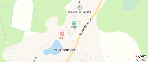 Зеленая улица на карте Андреевской деревни с номерами домов