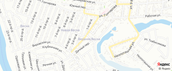 Весенняя улица на карте садового некоммерческого товарищества Весны с номерами домов