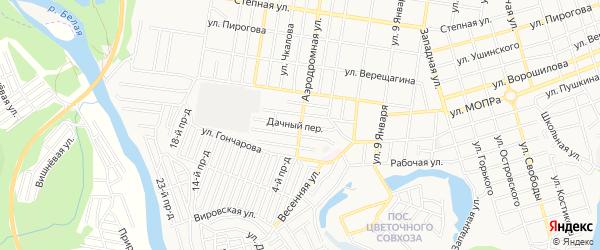 Карта поселка ДНТ Коммунальника города Майкопа в Адыгее с улицами и номерами домов
