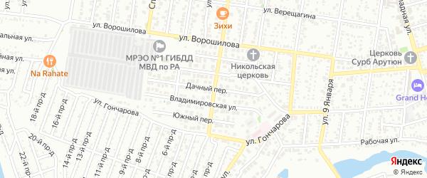Зеленая улица на карте поселка ДНТ Коммунальника с номерами домов