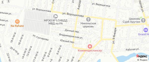 Дачная улица на карте поселка ДНТ Коммунальника с номерами домов