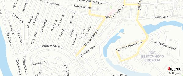 Весенняя улица на карте садового некоммерческого товарищества Восхода с номерами домов