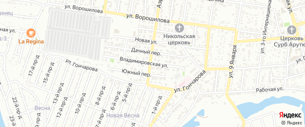 Владимировская улица на карте Майкопа с номерами домов