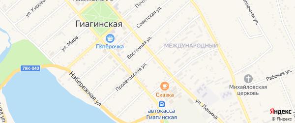 Пролетарская улица на карте Гиагинской станицы с номерами домов